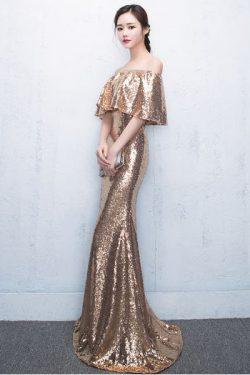 ชุดราตรียาวสีทอง