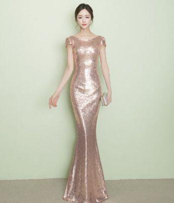 ชุดราตรียาว สีrose gold