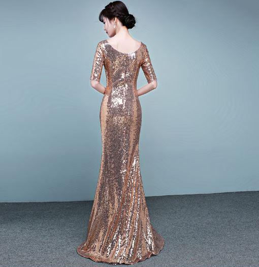 ชุดราตรียาวชุดออกงาน สีทอง