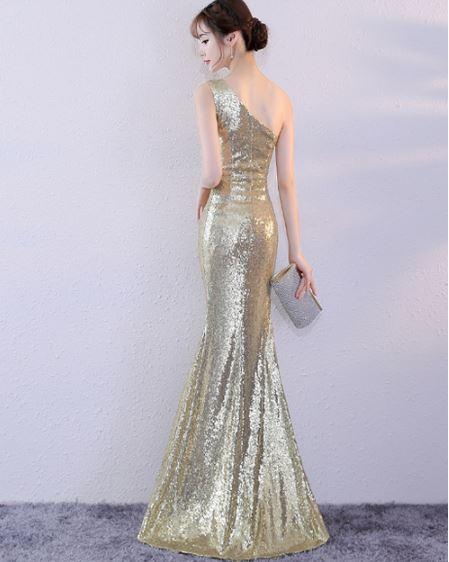 ชุดออกงานชุดราตรียาว สีแชมเปญทอง