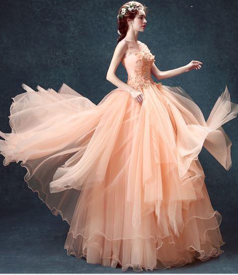 ชุดราตรียาวออกงานกลางคืน ระบายยาว สีส้ม น่ารักสดใส