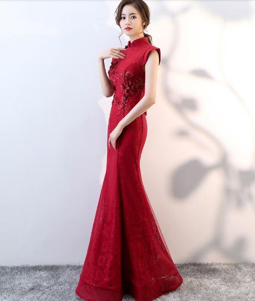 ชุดราตรียาวออกงานกลางคืน เข้ารูป สีแดง คอจีน